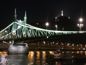 Liberty Bridge at night in Budapest, Hungary