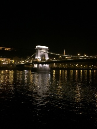 Chain Bridge at night in Budapest Hungary