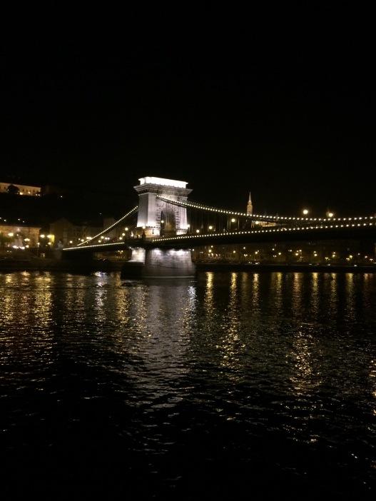 Chain Bridge at night in Budapest Hungary